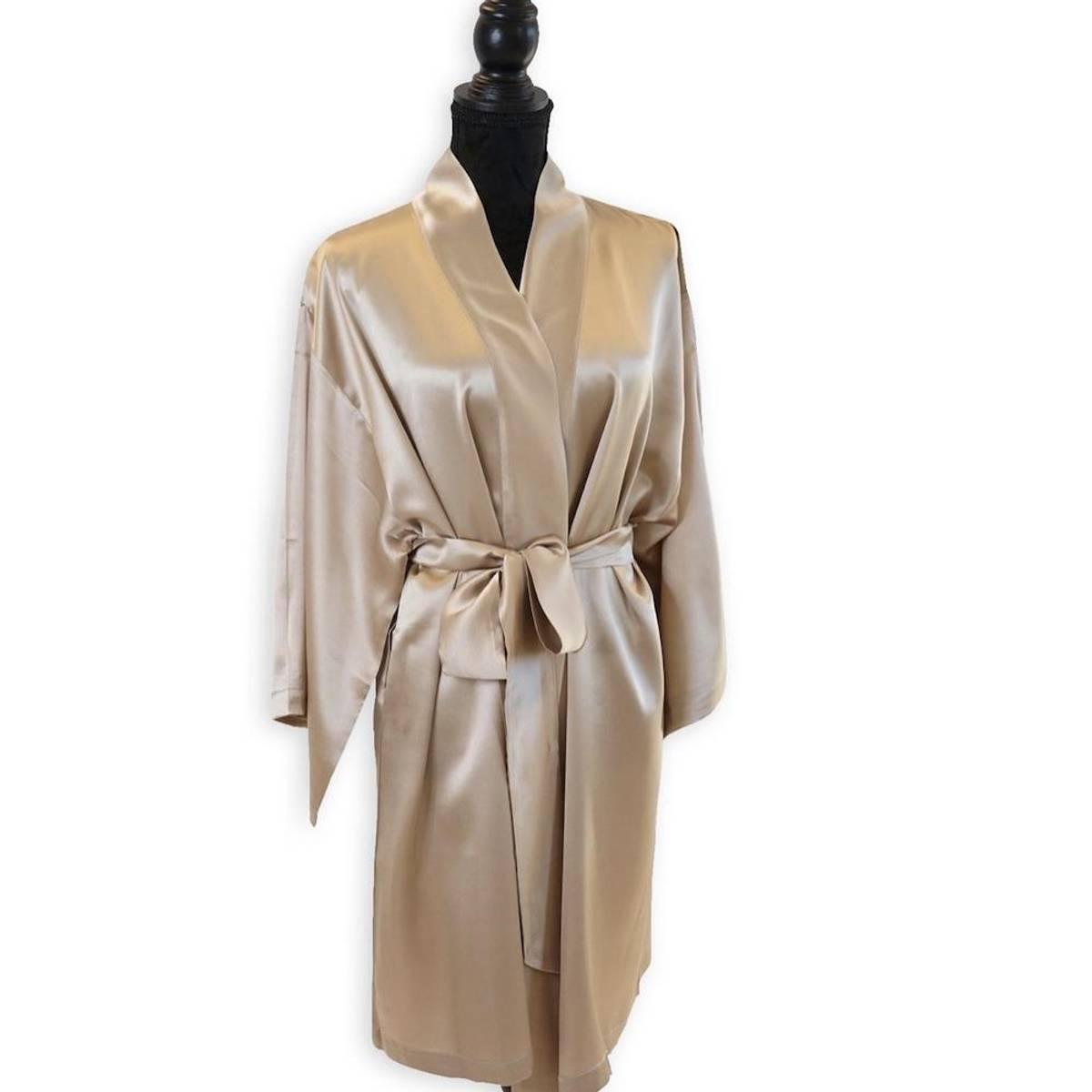 Kimono i silke - champagne