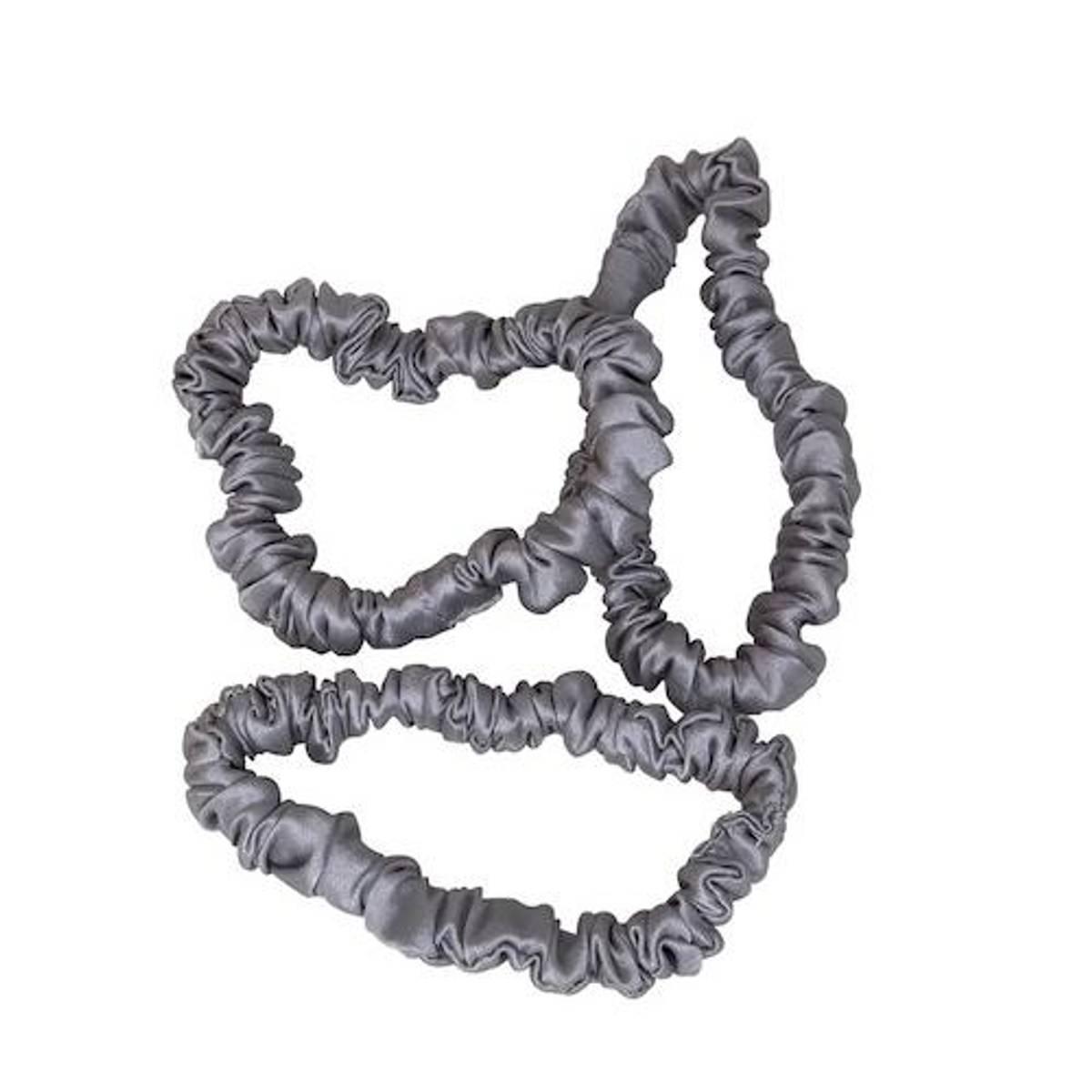 Hårstrikk i silke - sølv