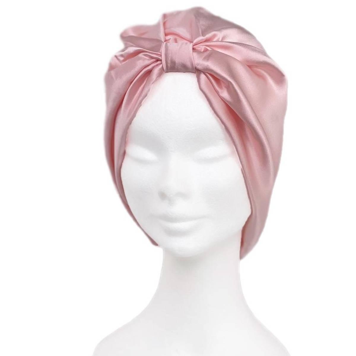 Sove turban i silke-rosa